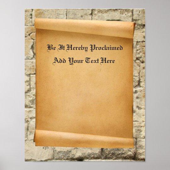 custom parchment scroll proclamation poster zazzle com
