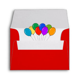 Custom party balloons lined Birthday envelopes