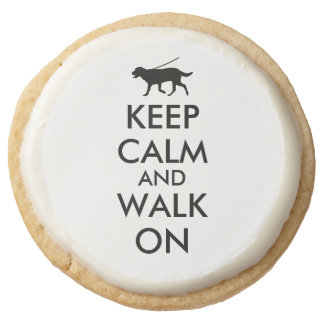 Custom Party Favor Keep Calm Cookies Walk the Dog Round Premium Shortbread Cookie
