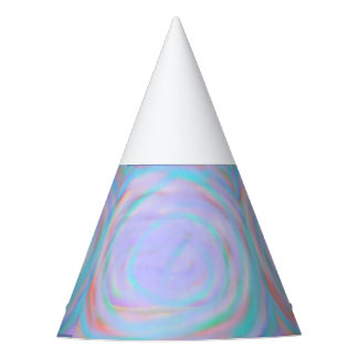 Custom Party Hat with a rainbow swirl pattern