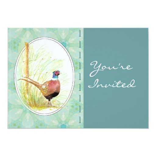 Custom  Party Invite Custom Ring-Necked Pheasant