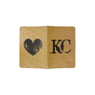 Custom passport holder with gold glitter cover