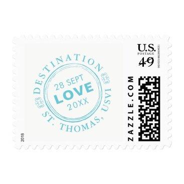 Beach Themed Custom Passport Stamp Destination Wedding | Aqua