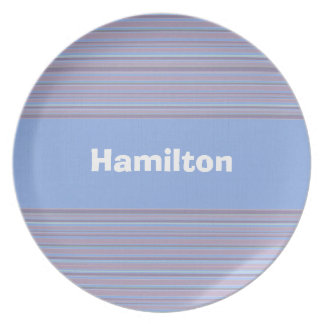 Custom Pastel Baby Blue and Lavender Striped Plate