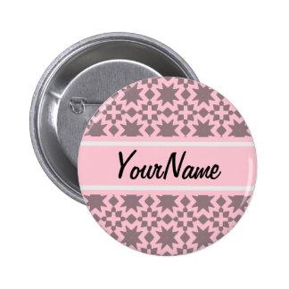Custom Pastel Pink Stylish Chic Pattern Button