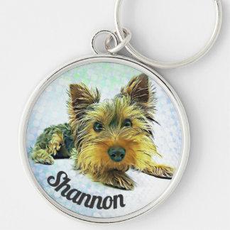Custom Pastel Puppy Dog Yorkie Yorkshire Terrier Keychain