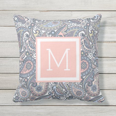 Custom Pastel Violet Pink Paisley Floral Pattern Outdoor Pillow