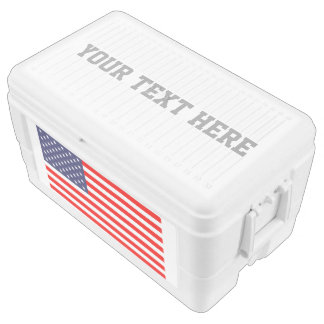 Custom patriotic American flag ice chest cooler