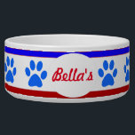 "Custom Patriotic Dog Bowl with Paw Prints<br><div class=""desc"">Celebrate our independence with our large pet bowl with Paw Prints.  Just add your pet&#39;s name.  Designed by www.zazzle.com/CorgiGifts*</div>"