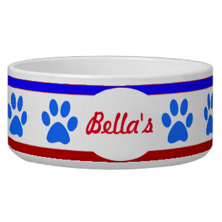 Custom Patriotic Dog Bowl with Paw Prints