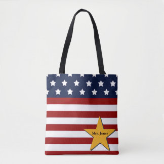 Custom Patriotic Flag Tote Bag