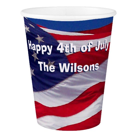 Custom Patriotic Red, White and Blue Paper Cup