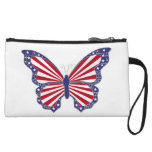Custom Patriotic Red White Blue Butterfly Clutch