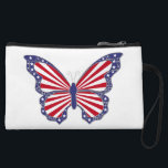 "Custom Patriotic Red White Blue Butterfly Clutch<br><div class=""desc"">A large purse or a tote is handy when you have a lot of stuff to carry, but you might prefer something smaller and sleeker for nights out on the town or for a quick trip to the store. A clutch purse is the perfect size to hold essential items such...</div>"