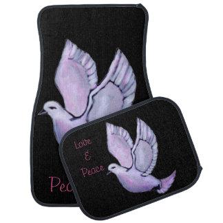 Custom peace in soft colors pigeon car floor mat