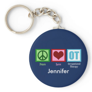 Custom Peace Love Occupational Therapy Keychain