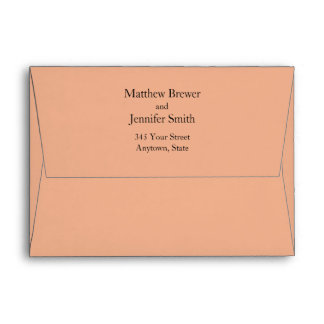 Custom Peach or Coral Envelope with Return Address Envelope