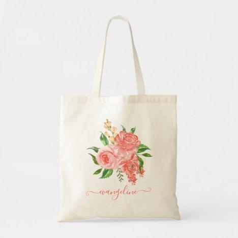 Custom Peach Pink Rose Floral Watercolor Pretty Tote Bag