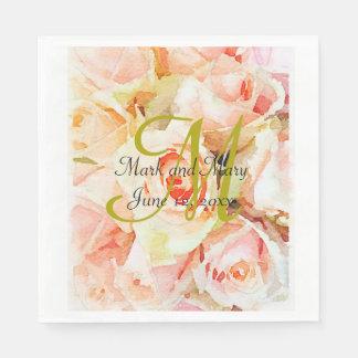 Custom Peach Watercolor Roses Wedding Napkin