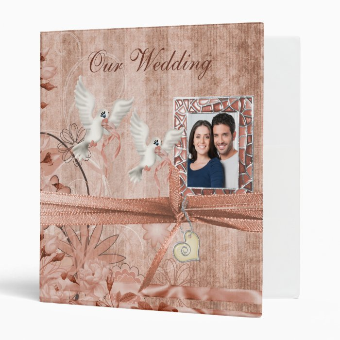 Custom peach wedding photo album binder zazzle - Customiser album photo ...