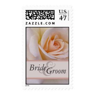 Custom peach wedding rose postage