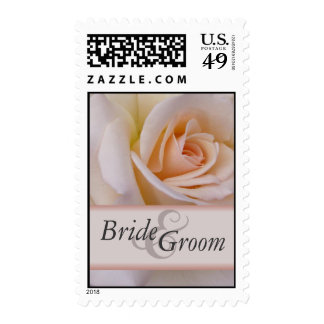 Custom peach wedding rose postage stamps