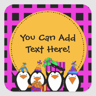Custom Penguin Party Stickers