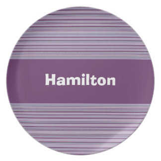 Custom Periwinkle and Lavender Striped Plate
