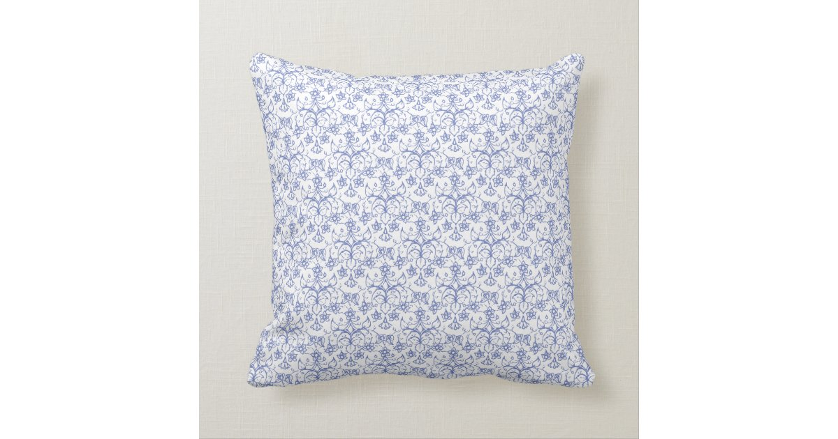 Periwinkle Blue Throw Pillow : Custom Periwinkle Blue on White Decorative Floral Throw Pillow Zazzle