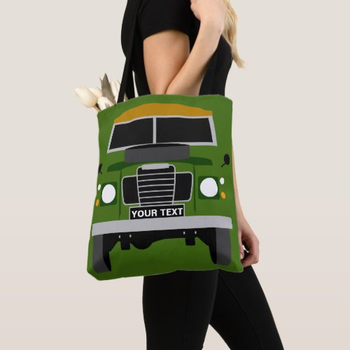 CUSTOM PERSONALISE OLIVE GREEN LAND ROVER SERIES 3 TOTE BAG