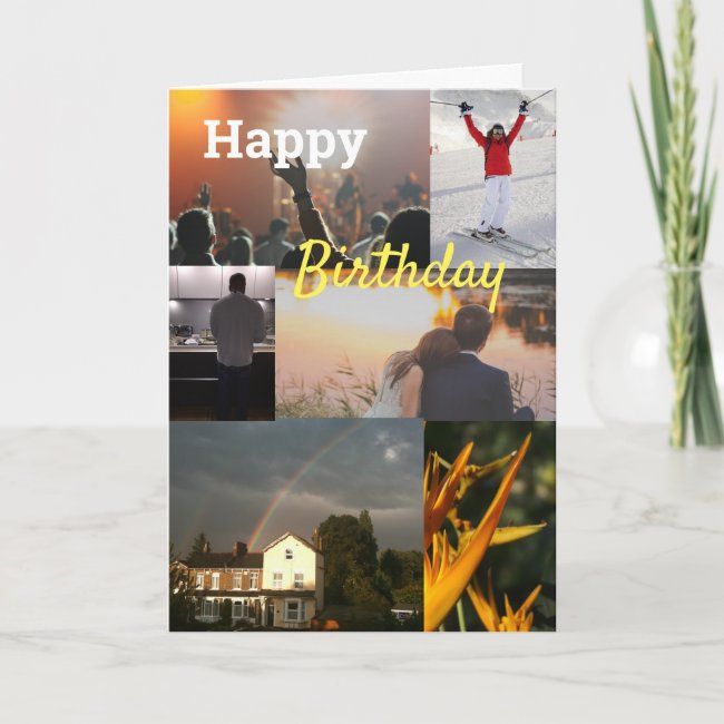 Custom Personalised Photo Collage Birthday Card