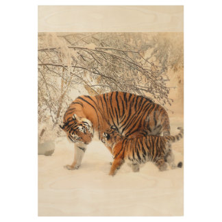 Custom Personalize Cats Tigers Anniversaries Wood Poster
