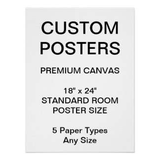 "Custom Personalized 18"" x 24"" Canvas Poster Blank"