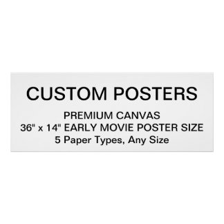 "Custom Personalized 36"" x 14"" Canvas Poster Blank"