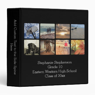 Custom Personalized 8 Photo Black Photo Mosaic 3 Ring Binder