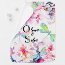 Custom personalized baby blanket floral watercolor
