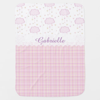 Custom Personalized Baby Name Pink Clouds Receiving Blanket