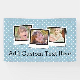 Custom Personalized Blue Polka Dot 3 Photo Banner