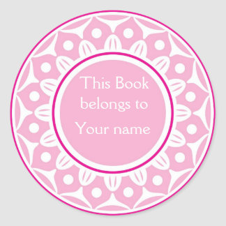 Custom Personalized Bookplates - Light Pink Classic Round Sticker
