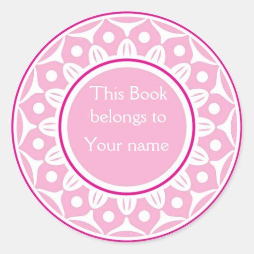 Custom Personalized Bookplates - Light Pink Round Sticker