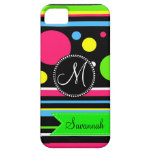 Custom Personalized Colorful Stripes Polka Dots iPhone 5 Case
