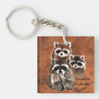 Custom Personalized Cute Raccoon Family animals Keychain
