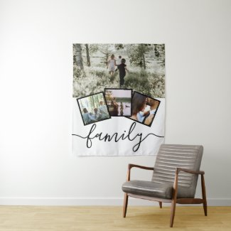 Custom Personalized Family 4 Photo Collage Tapestry