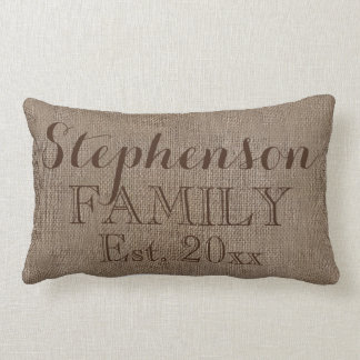 Custom Personalized Family Name Burlap Rustic Lumbar Pillow