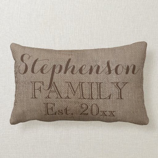 Custom Personalized Family Name Burlap Rustic Throw Pillows Zazzle