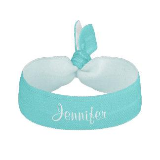 Custom personalized girls name teal elastic hair tie
