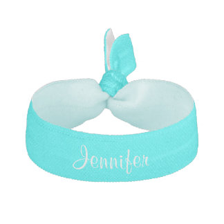 Custom personalized girls name turquoise elastic hair tie