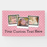 Custom Personalized Girls Pink Polka Dot 3 Photo Banner