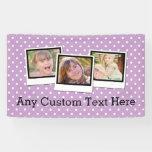 Custom Personalized Girls Purple Polka Dot 3 Photo Banner