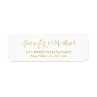 Custom Personalized Golden Wedding Return Address Label at Zazzle